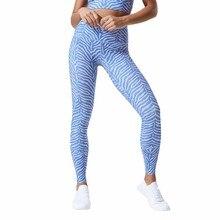 Women Fitness Leggings 2019 New Fashion Yoga Pants High Waist  Gym Leggings Blue Stripe Gothic Printing Pants Sexy Yoga Leggings недорого