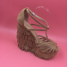 Tassel Suede Wedge Heel Comfortable Women Sandals Platform Cross Strap Open Toe High Heels Womens Sandals Summer Real Photo