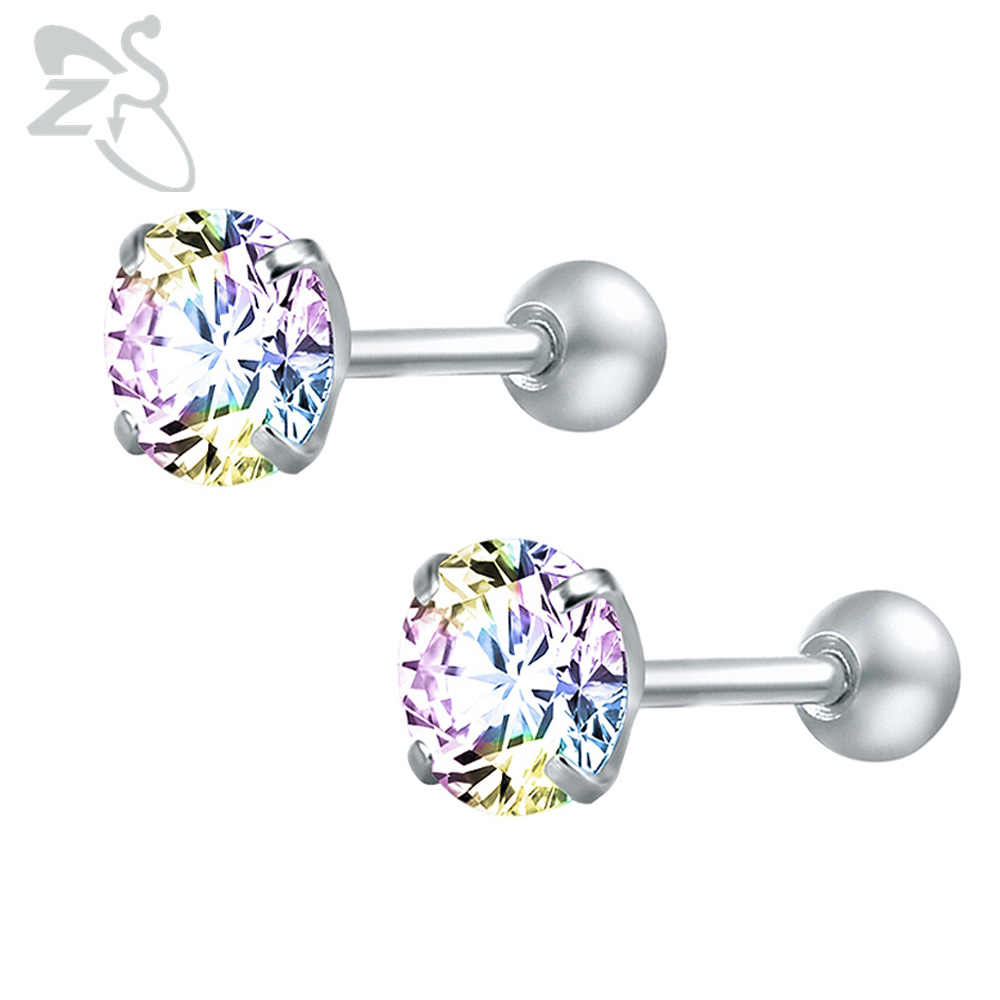 Tiny Round Crystal Studs Earrings Screw Ball Stainless Steel Female Earrings Mini Small Childern Earring Pierced Ear Oorbellen
