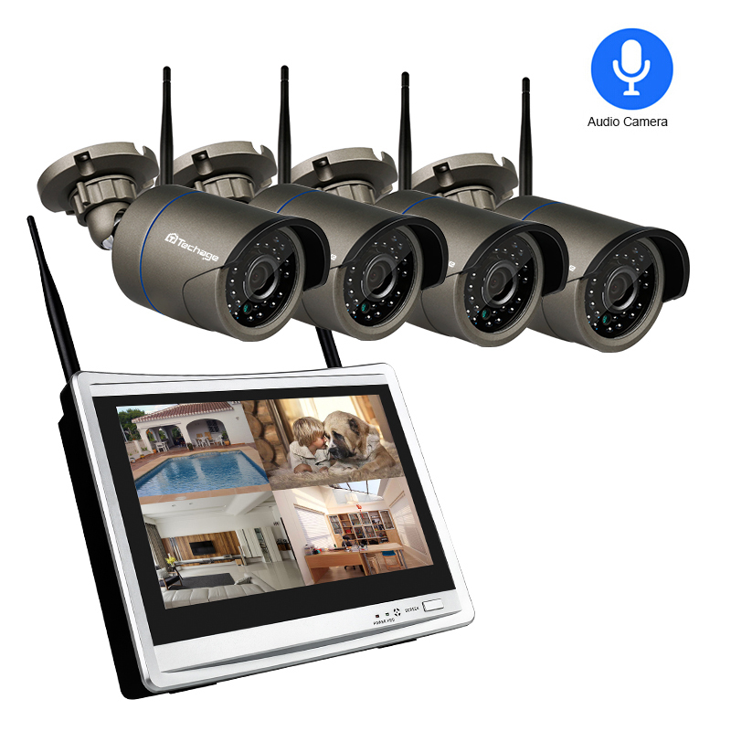Techage 4CH 1080P Wireless 2MP Wifi Security Camera System 12 inch LCD Monitor NVR HD Audio Record CCTV Surveillance Kit 2TB HDD