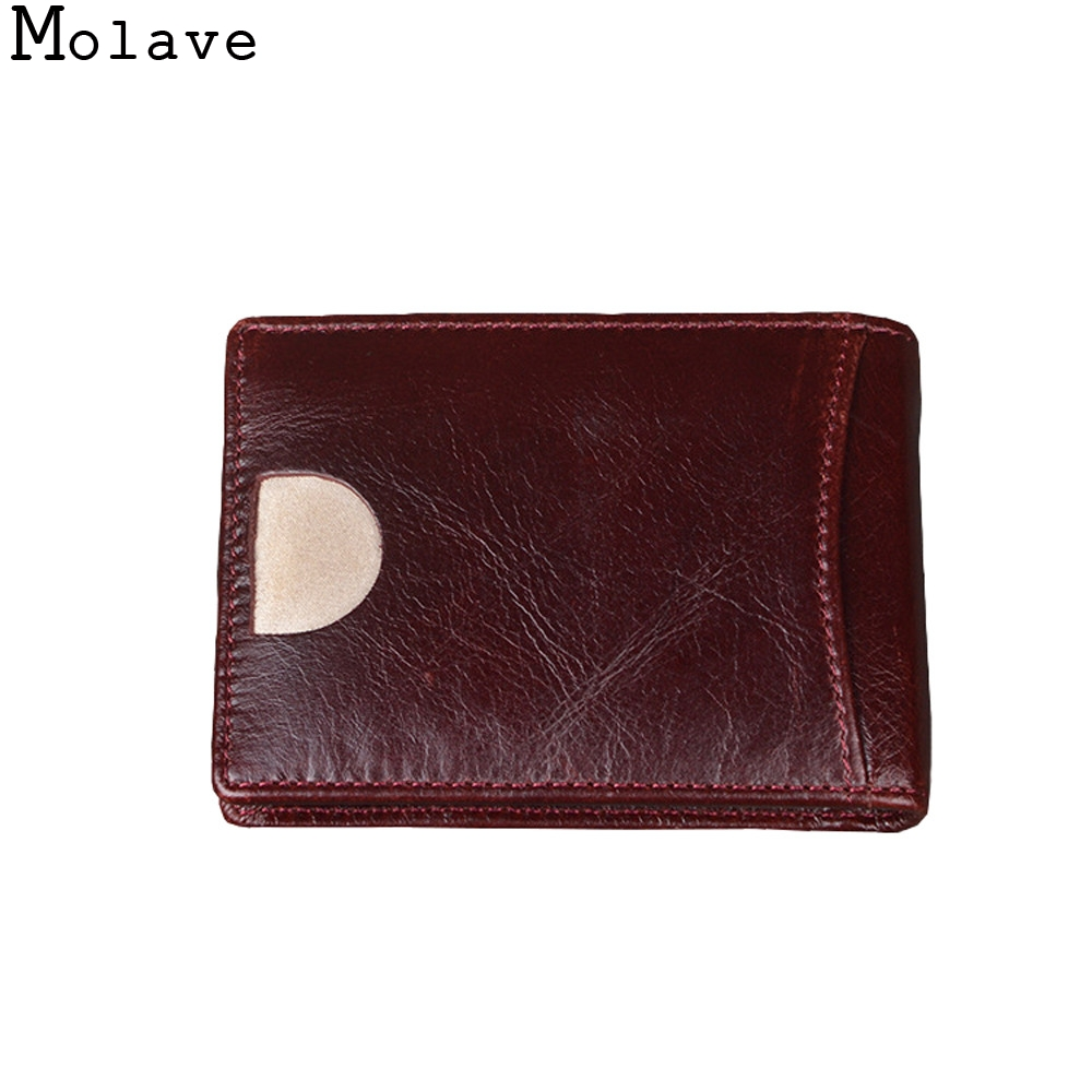MOLAVE wallet cow Leather solid short Standard Wallets vintage Thin Minimalist wallet Box men hasp high quality Wallet nov28