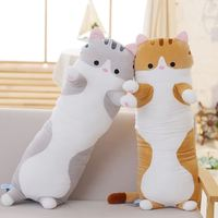 Candice guo plush toy stuffed doll cartoon animal long body cat pig sofa sleeping pillow cushion baby birthday gift present 1pc