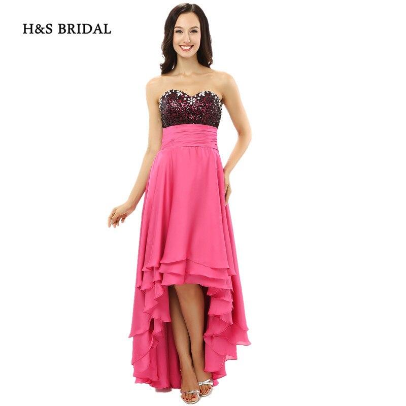Formal Dresses In Memphis Tn: H&S BRIDAL Sweetheart Hi Low Chiffon Prom Dresses Pink