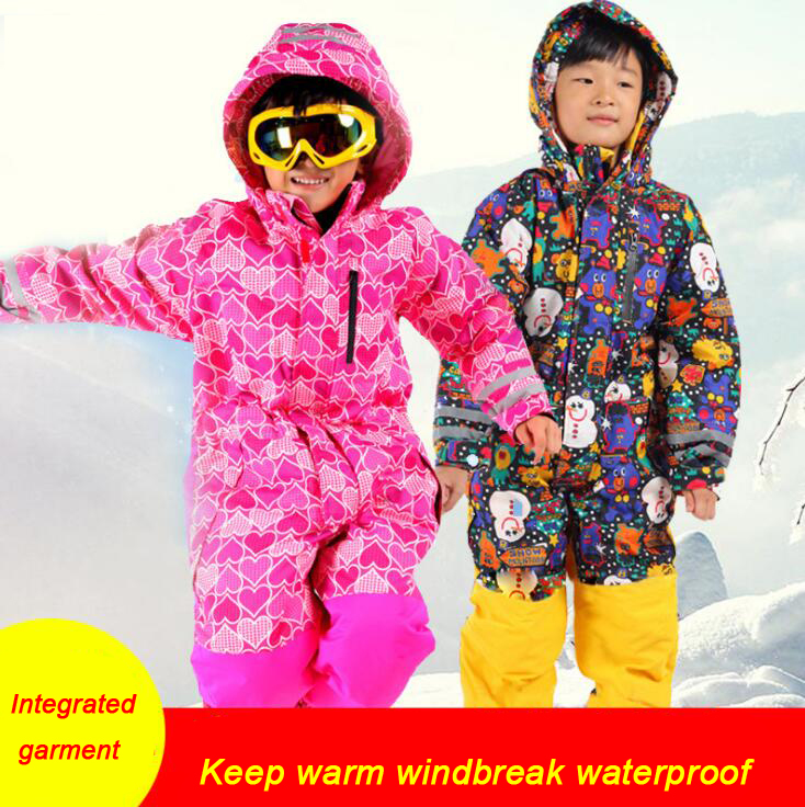 Winter outdoor skiing children warm thickening waterproof breathable one-piece suit boys and girls ski suitWinter outdoor skiing children warm thickening waterproof breathable one-piece suit boys and girls ski suit
