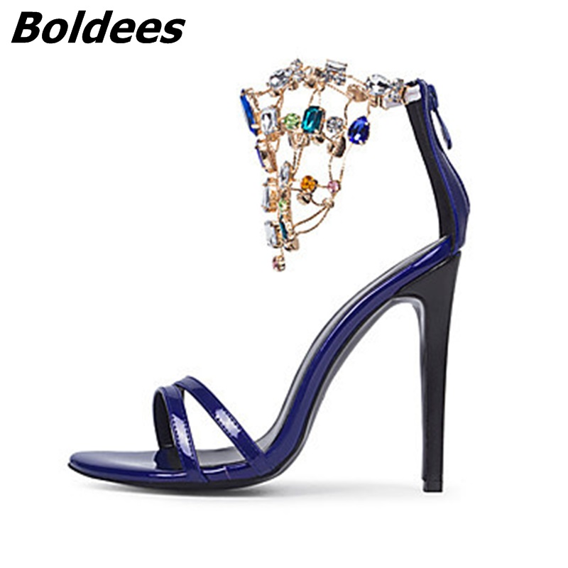 Trendy Designer Sexy Patent Leather Stiletto Heels Shoes Woman Bling Bling Rhinestone Ankle Wraped Dress Sandals Nightclub Shoe - 3