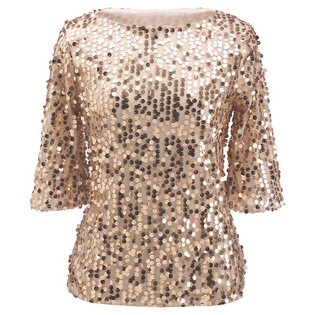Voorkeur T Shirt Women Hot Sequin T shirt Ladies Sparkle Glitter 2017 New  &BP21