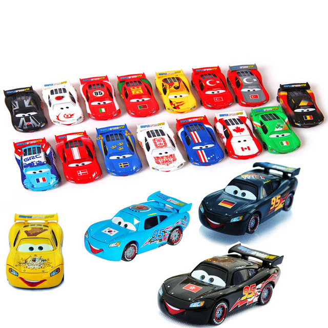 19 PCS /Set Limited Edition Pixar Cars Diecast NO.95 19 Countries McQueen Metal Toy Car 1:55 Loose Brand New Alloy Car Toy