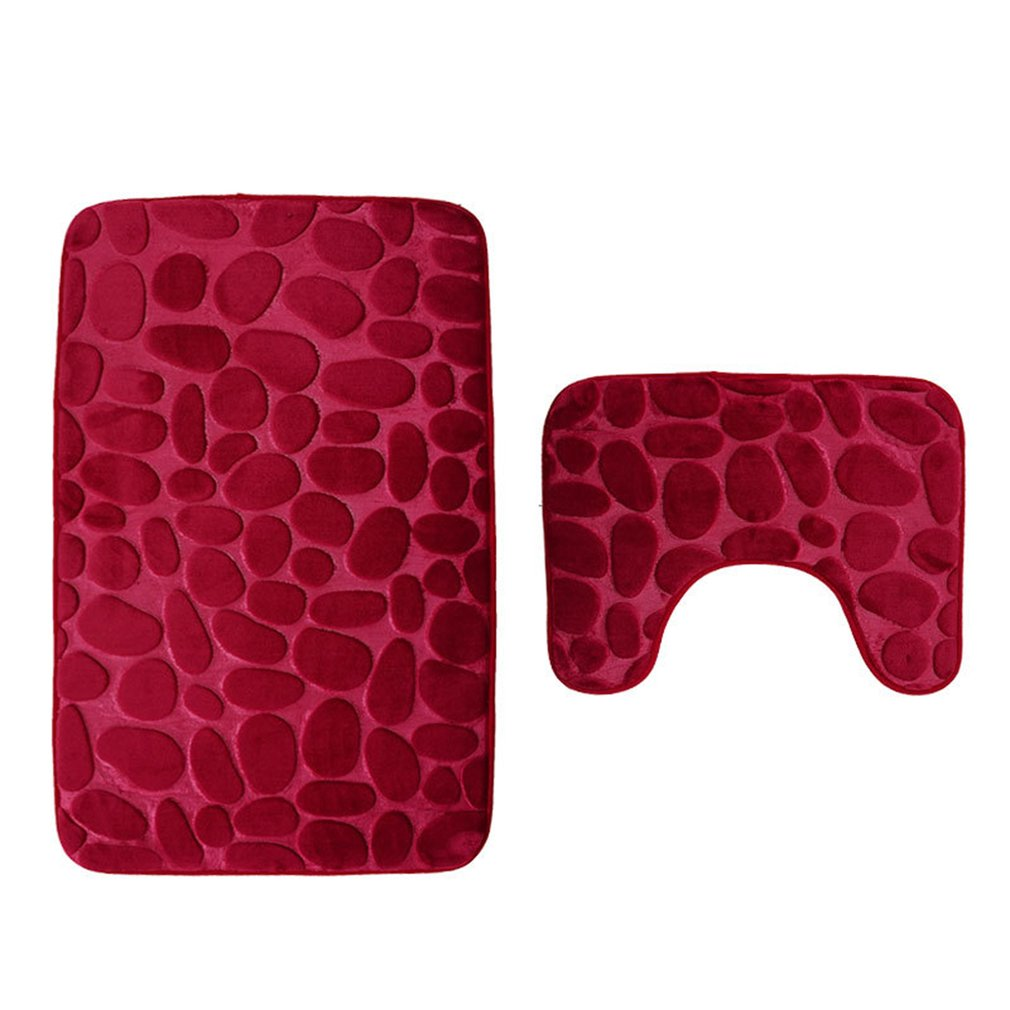 3D Cobblestone Toilet Floor Mat Set Bathroom Carpet Two-Piece HD Print Pad Large Size Door Floor Seat Mattress For Decor Red