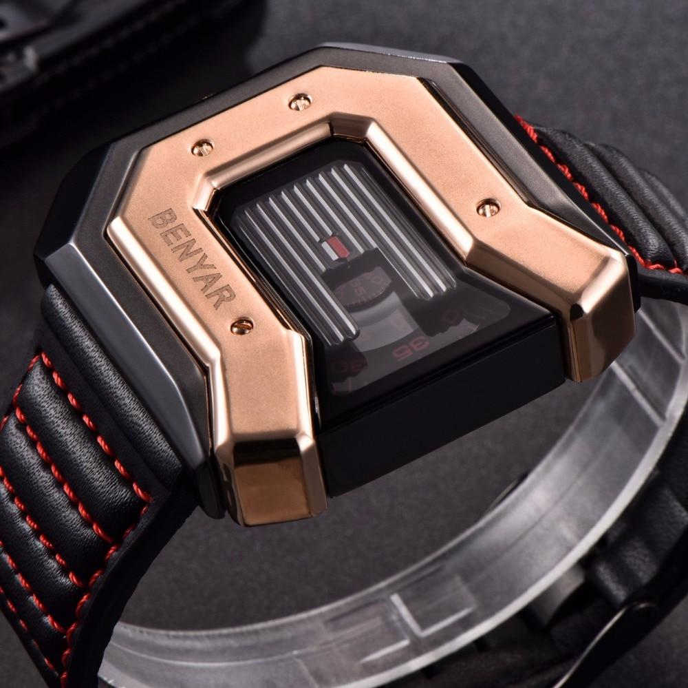 e24c53e4bf4d3 BENYAR mode montres hommes de luxe marque grand cadran carré Quartz Sport  montre homme horloge hodinky relogio masculino saat dans Montres de sport  de ...