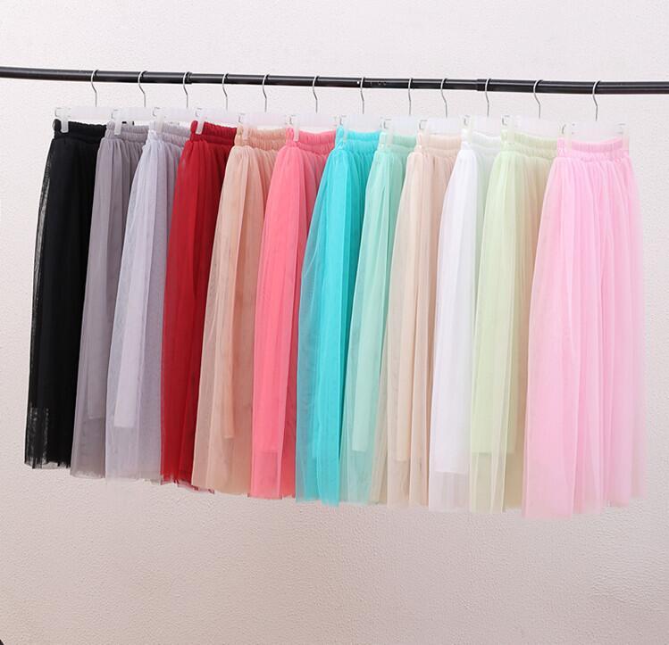 2018 Hot sales! Women Skirt Net Yarn Half Skirt Summer Fashion High Waist Elastic Skirt