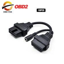 10 unids/lote para MITSUBISHI 12Pin hembra + DC macho a OBD2 OBDII DLC 16Pin herramienta de diagnóstico del coche convertidor de adaptador de Cable