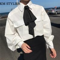 Salvaje arco puff manga blusa linterna manga hebilla de perlas con lazo negro blanco camisa