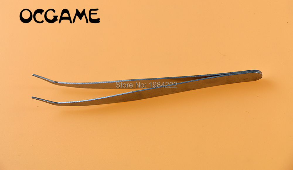 100pcs/lot High quilty Curved Stainless Tweezers repair tool for game console mobile phone