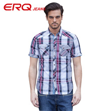 ERQ Brand Summer Casual Shirts Men Shirt Camisa Masculina 100% Cotton Plaid Men's Shirt Short Sleeves Shirts Chemise Homme 58915