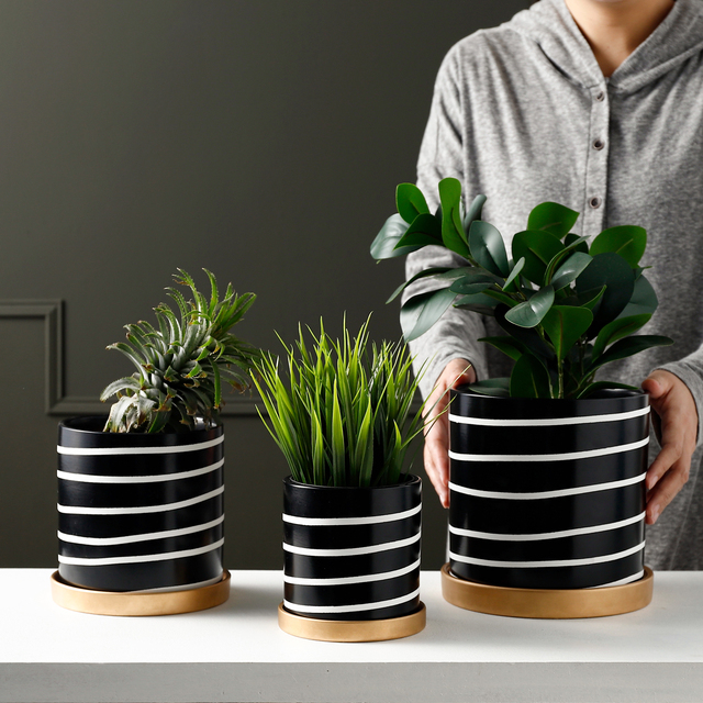 Nordic Black and White Striped Ceramic Flowerpot Succulents Pot Plant Pot with Tray Home Office Christmas New Year Decoration 4