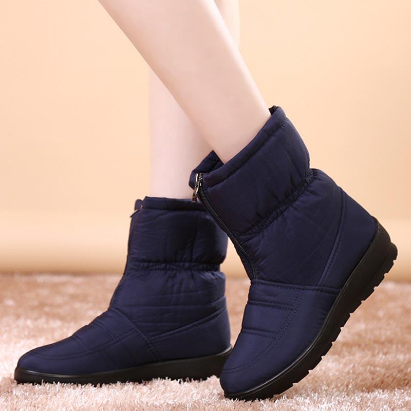 Women snow boots waterproof down ankle boots women zipper warm winter boots shoes woman warm fur botas laides shoes цены