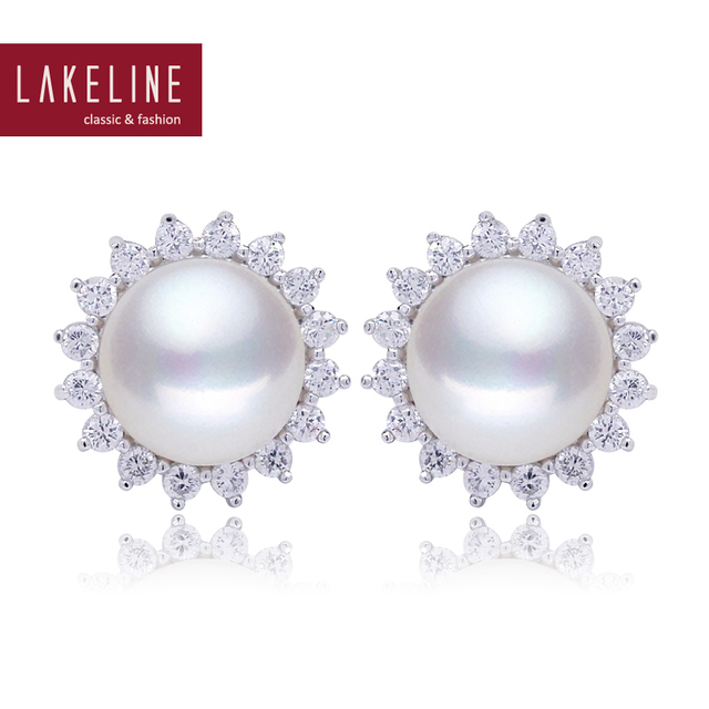 Fashion White Freshwater Pearl Earrings Crystal Flower 10mm Aaa Wedding Bridal Stud Earring Jewelry Er044