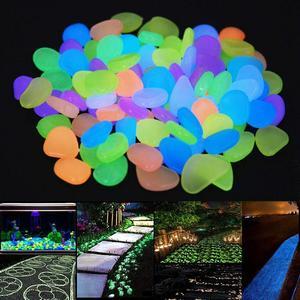 Image 2 - Pokich 100 uds. De piedras artificiales luminosas que brillan en la oscuridad, pasarelas, jardín, piedra Artificial fluorescente para decoración de acuario