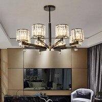 미국 레트로 lexury 크리스탈 샹들리에 현대 따뜻한 거실 침실 레스토랑 호텔 led 매달려 전등 무료 배송