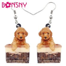 Bonsny Acrylic Sweet Basket Teddy Poodle Dog Earrings Dangle Drop New Fashion Animal Jewelry For Women Girls Kid Pet Lovers Gift(China)