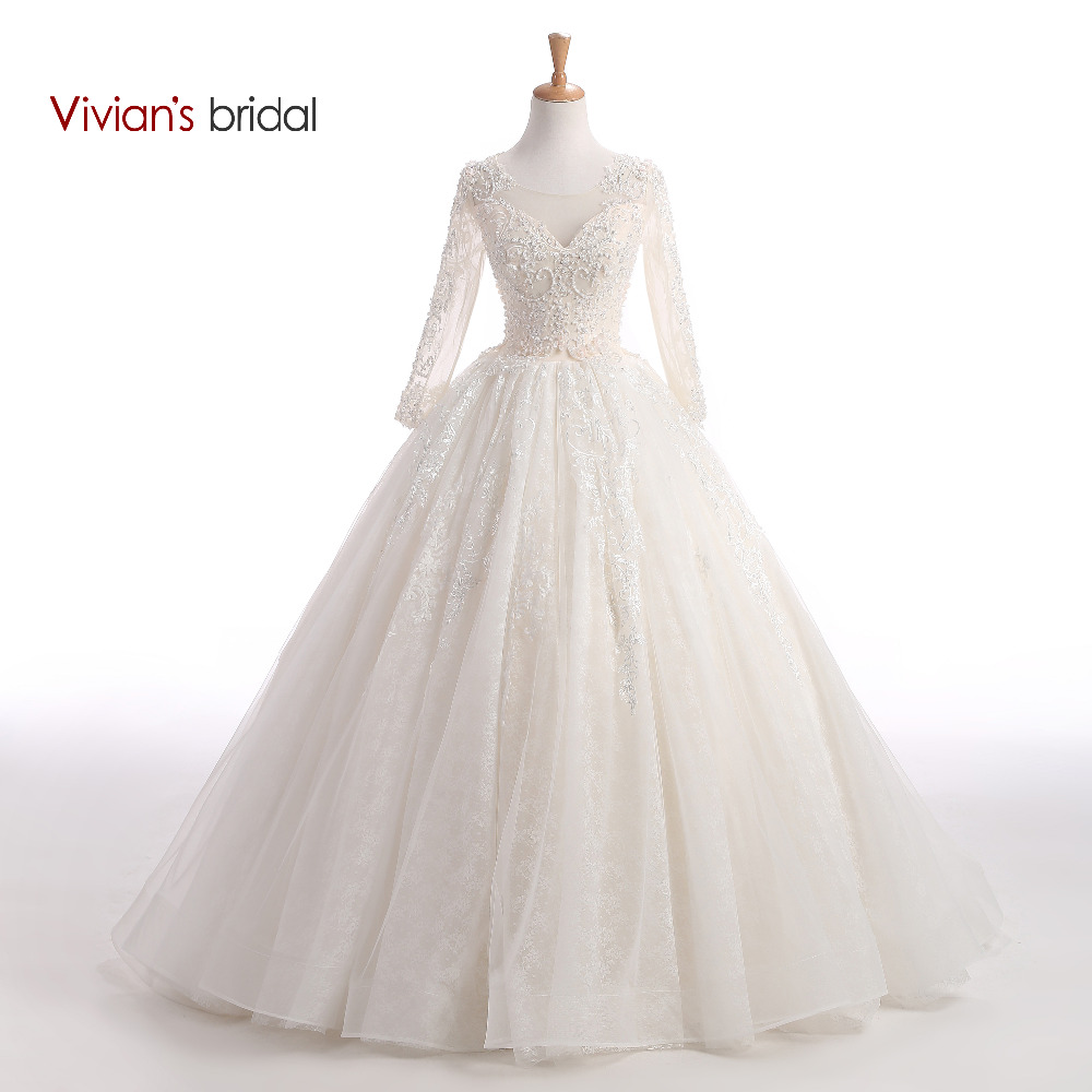 Vivian 39 s bridal beaded sequin sparkly wedding dress ball for Sparkly wedding dresses with sleeves