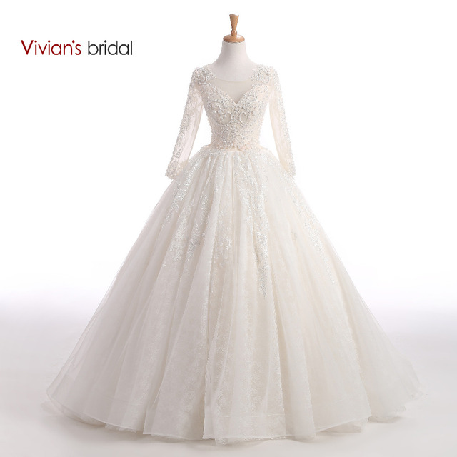 Vivian\'s Bridal Beaded Sequin Sparkly Wedding Dress Ball Gown Long ...