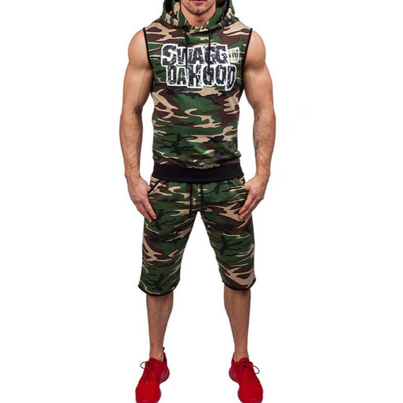 Sweat Jogger Butin Mode Muscle De Shorts Capuche À Nouveau Fit Gray Camouflage Sport 2017 Slim green Hommes x5pEqww0