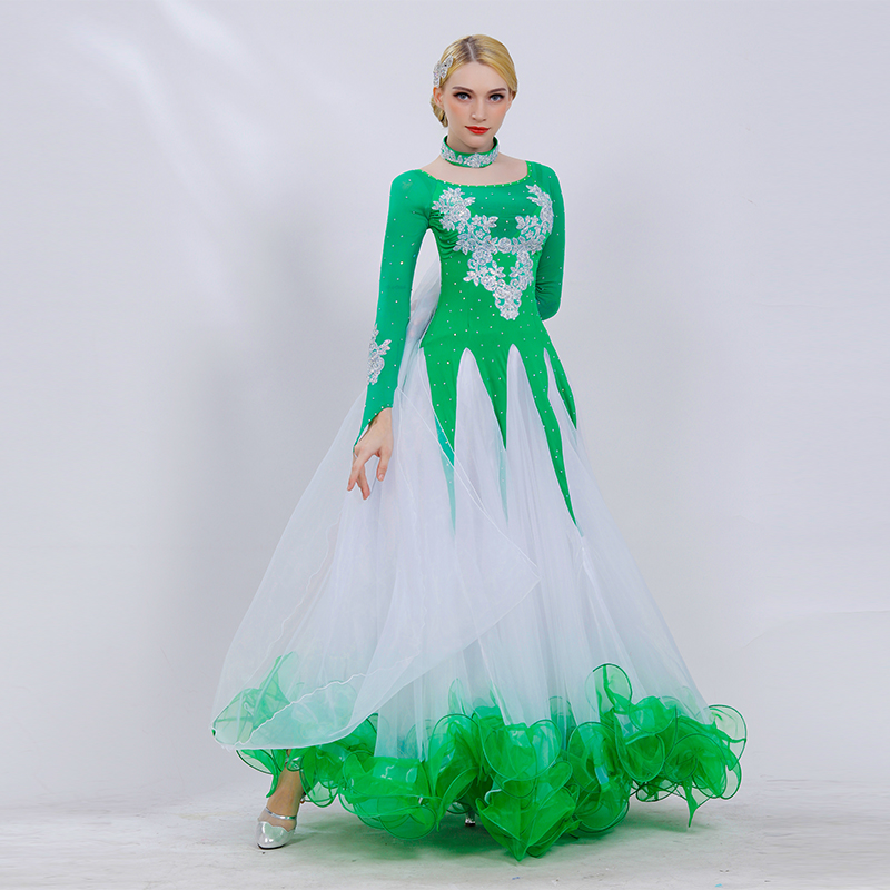 Ballroom Dance Dress 2019 New Adult Senior Embroidery Big Swing Dress Women Latin Waltz Tango Dance Stage Performance Costumes