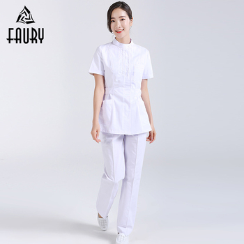 ecfd821978a Nurse Hospital Medical Surgical Workwear Summer Short Sleeve Tops Pants  Dental Clinic Pharmacy Beauty Salon Casual Work Uniforms