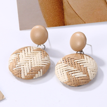 Bohopan Fashion Manual Rattan Weave Dangle Earrings For Women Round Black Drop Accessories Wedding  Jewelry 2019