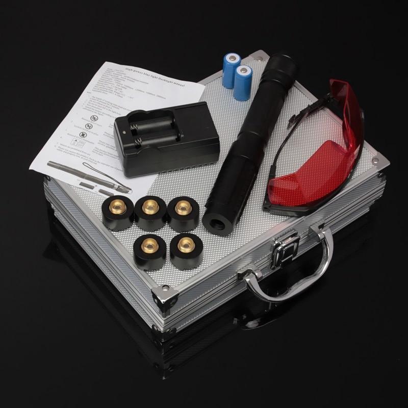 HOT! Plus Puissant Militaire lampe de Poche Laser Stylo Torche 450nm 200000 m Focalisables laser Bleu pointeur Chasse avec lunettes chargeur