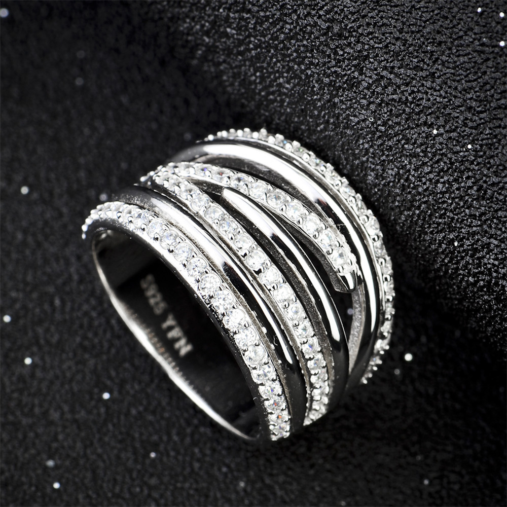 This is a photo of Exquisite Interlocking Infinity Jewelry 30 Sterling Silver Rings