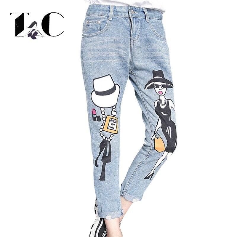 TC 2017 Autumn Fashion Women Jeans Boyfriend Style Print Ladies Pattern Casual Vintage Bleached Stretch Pockets FT00209