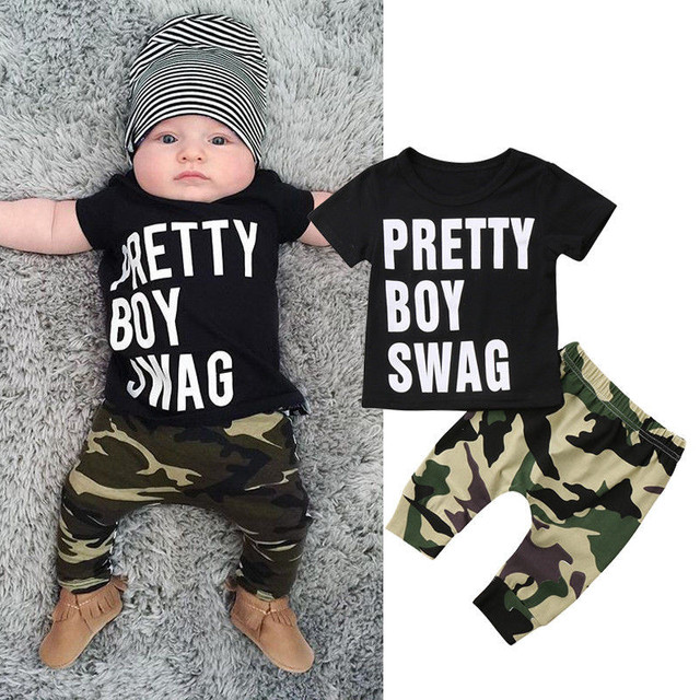 f747ab8e7 Army Camouflage Baby Boy Girl Set Short Sleeve Top Newborn Baby Suit ...