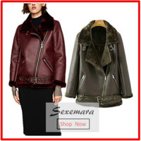 High Quality Faux Leather Suede Coat Aviator Leather Jacket Winter Coat Lambs Wool Fur Collar Suede