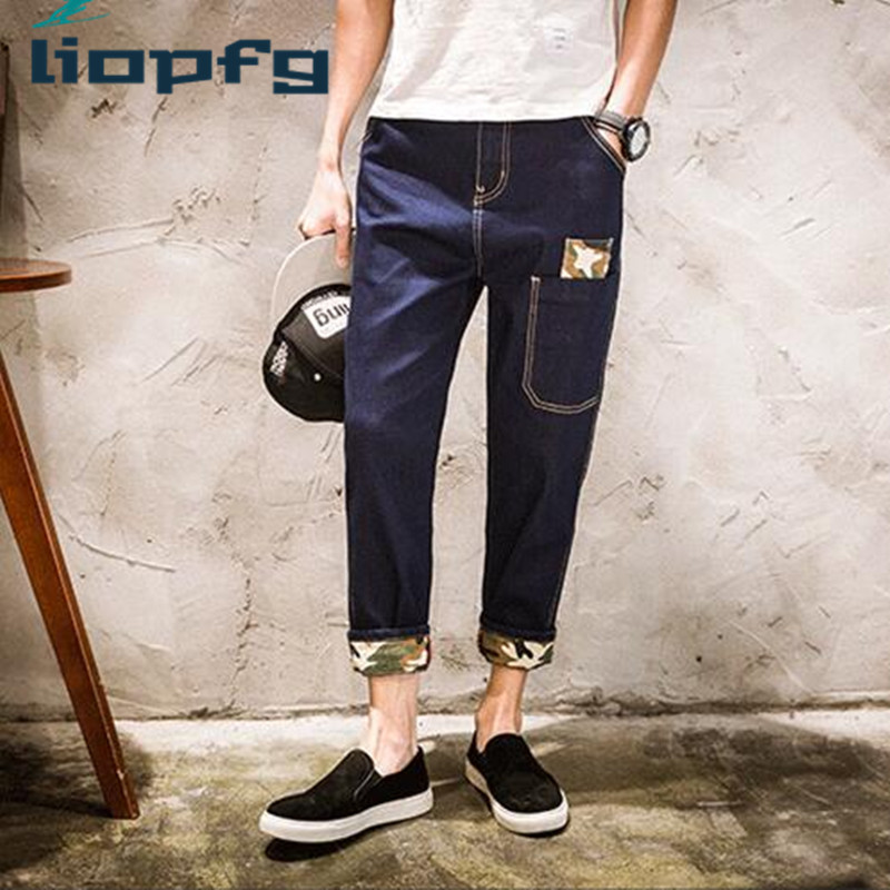 2017 Spring New Men Trousers Tide Brand Harem Pants Male Teenager Nine Feet Jeans High-Quality Fabric Loose  Comfortable  MK762