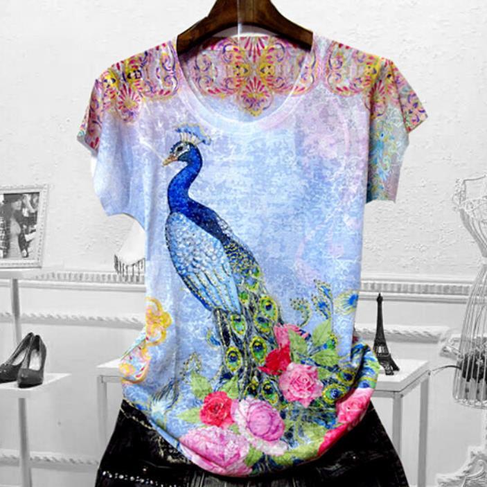2019 summer new silk cotton printed t shirt women short sleeved hot drilling top tees plus size 4xl