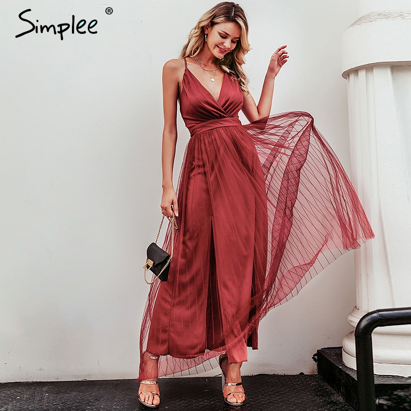 Simplee Mesh pink <font><b>lace</b></font> <font><b>women</b></font> <font><b>dress</b></font> <font><b>Elegant</b></font> v neck evening maxi christmas <font><b>dress</b></font> Autumn winter <font><b>sexy</b></font> long party <font><b>dress</b></font> vestido festa image
