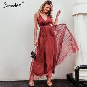 Image 2 - Simplee vestido de renda rosa feminino, malha, elegante, decote em v, para noite, maxi, para outono, inverno, sexy, longo, vestido de festa festa