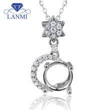 Fine Jewelry 7x7mm Round Mountings Settings Pendants With Natural Diamond In Solid 18K White Gold