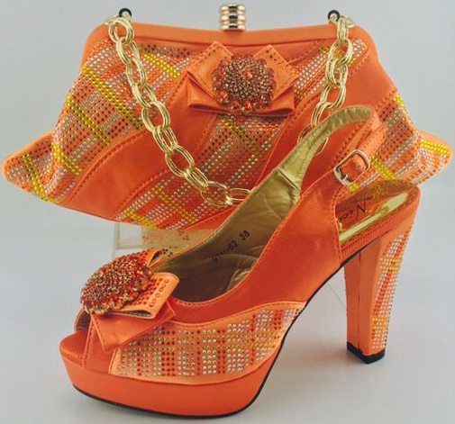 New Arrival Orange Color Italian Shoes with Matching Bags for Women African  Shoe and Bag Set for Party Nigerian Wedding Shoe Bag 66dd38861ffb