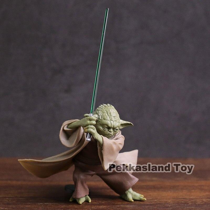 Star Wars jedis Knight Yoda con sable de luz Mini PVC figura de acción de juguete coleccionable