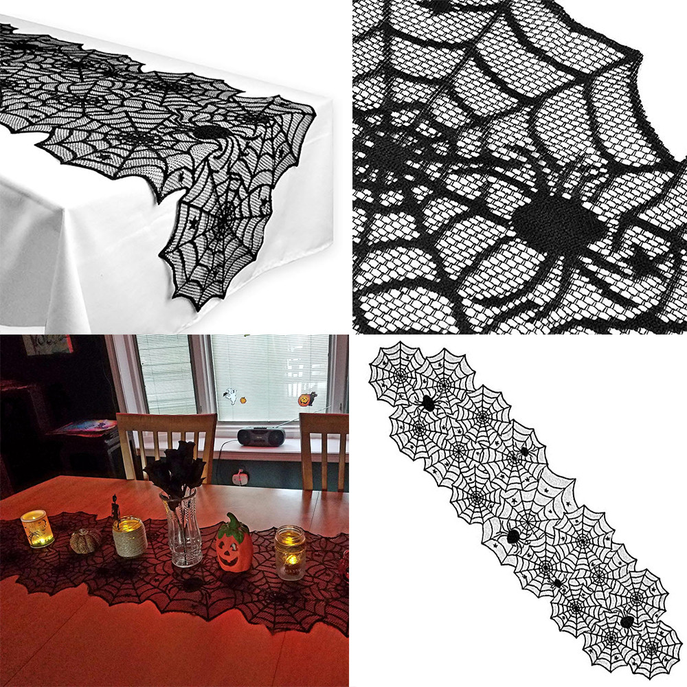 Halloween Polyester Lace Dinner Parties Table Runner Black Spider Web Decor New Arrival Dropshipping Q4