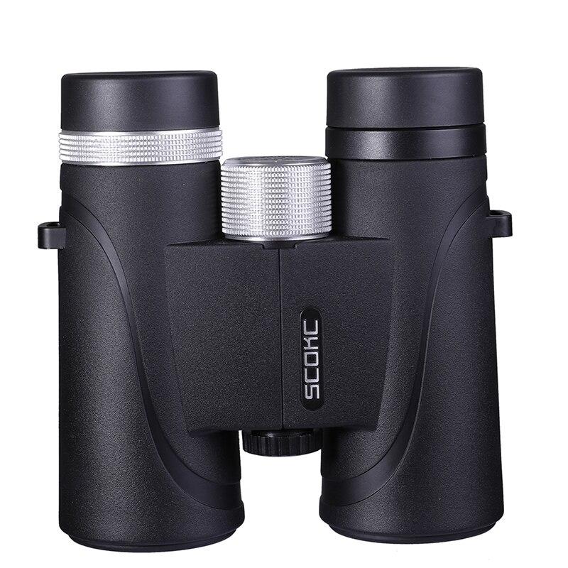 10x42 IPX7 prismáticos impermeables Bak4 prisma óptica de alta potencia telescopio para la caza que acampa al aire libre