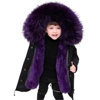 2019 winter new girls fur coat raccoon fur collar rex rabbit fur lining children's long coat