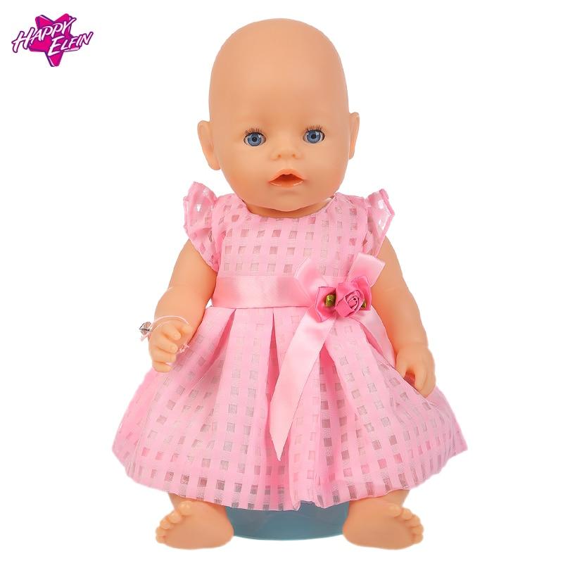 Rosa klänning + Underbyxor Dollkläder för flickor passar 18 tums flicka, 43 cm nyfödda barn bästa födelsedagspresent Z01