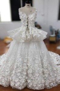 Image 4 - Dreamy Blume Prinzessin Hochzeit Kleider Luxus Bunte Brautkleider Robe De Mariage Sehen Obwohl Perlen Braut Kleid W201715