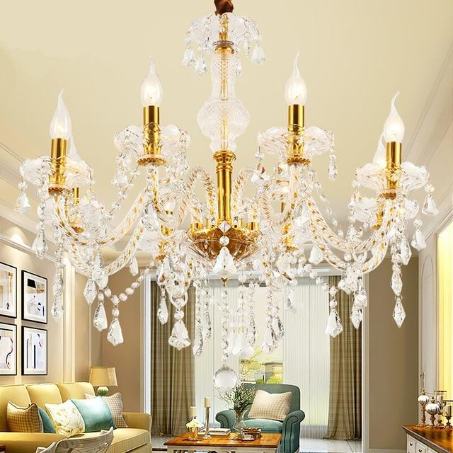 Modern Gold crystal led ceiling chandeliers lighting for Living room Bedroom kitchen K9 crystal lustres de teto light fixtures