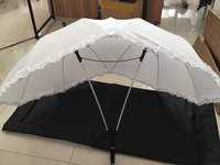 30pcs White Two Person Umbrella Lover Couples Umbrella Two Head Umbrella With Lace Gift For Lovers