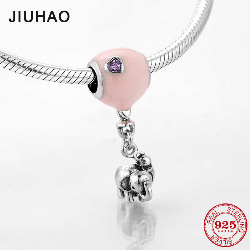 e41a0bf28 2018 Fashion 925 Sterling Silver Pink Balloon With dangle Elephant Charms  Bead Fit Original Pandora Bracelet